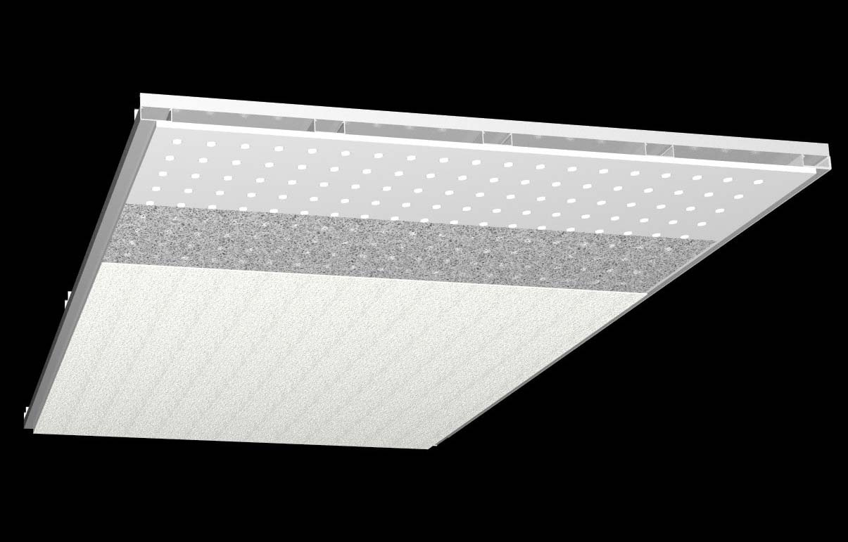 Akustikdecken-Systeme - Knauf Lochdecken (perforierter Gipskarton, vlieskaschiert) fugenlos mit Scherff Akustikputz beschichtet..